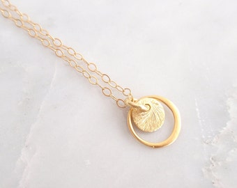 Tiny brushed disc & ring 14k gold filled necklace-simple everyday jewelry