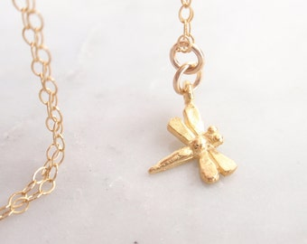 Dragonfly Charm 14k gold filled necklace-simple everyday jewelry