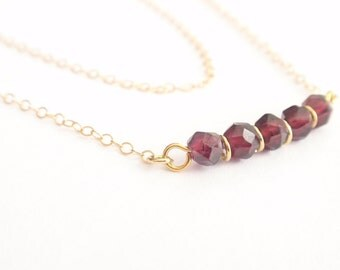 Natural Garnet & Multi Strand 14k gold filled necklace-simple everyday jewelry