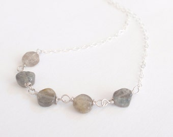 Labradorite gem bead Sterling silver necklace-simple everyday jewelry