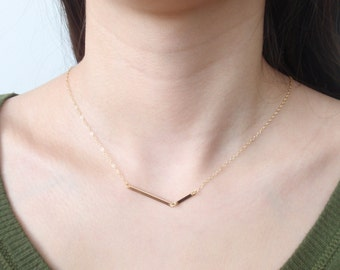 Double bar 14K gold filled necklace-simple everyday jewelry