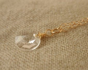 Clear crystal 14K gold filled necklace-simple everyday jewelry