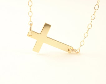 Sideway Cross necklace-with 14k gold filled chain-simple everyday jewelry