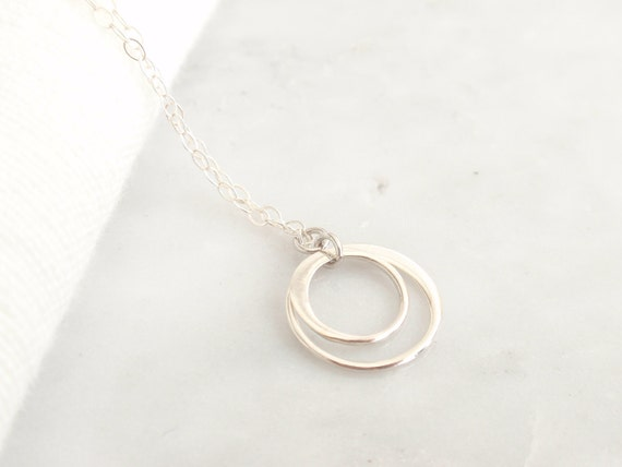 Double Rings Sterling silver necklace-simple everyday jewelry
