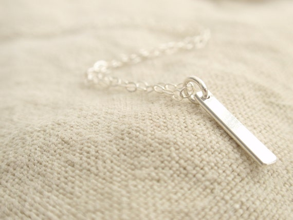 Mini smooth stick Sterling silver necklace-simple everyday jewelry