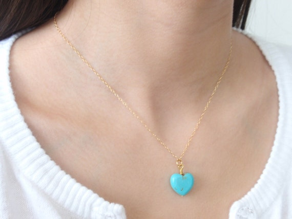 Turquoise Heart 14K gold filled necklace-simple everyday jewelry