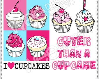 CUPCAKES digital clipart graphics - png, jpeg, eps, ai (personal or commercial use)