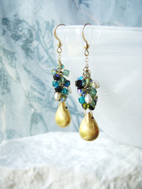 RESERVED - Green Swarovski earrings, gold jewelry