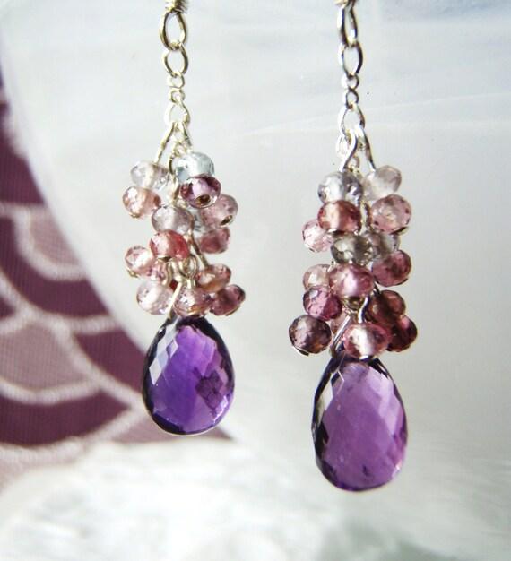 RESERVED - Amethyst earrings, spinel earrings, sterling silver jewelry