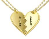 Heart Necklace Personalized 18k Gold Plated Sterling Silver Breakable Couple's  Heart necklace