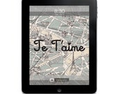 Paris Map Digital Wallpaper for the iPad