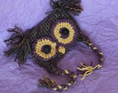 Newborn Girl's Owl Hat with Ear Flaps