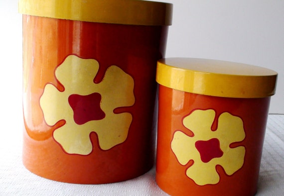 Retro Orange Kitchen Canisters with Yellow Flower Set of 2