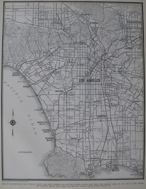 1937 Vintage Map LOS ANGELES Ca with Named Streets ORIGINAL m43