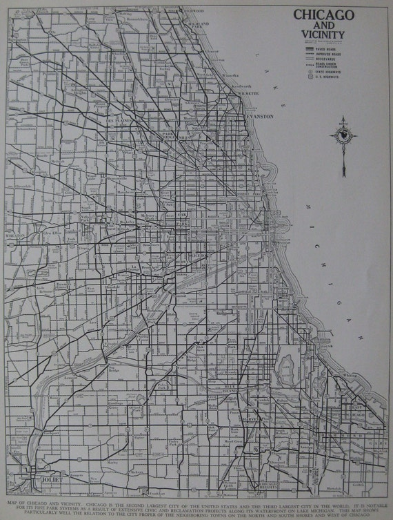 Vintage CHICAGO City MAP 1939 Chicago Illinois Antique Atlas