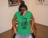 Screen-printed T-shirt Flower Russian Nesting Doll - Kelly Green T-shirt Black Ink (SM, M or XL)