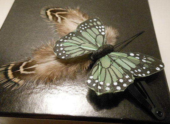 Butterfly Feather Hair Clip Cruelty Free