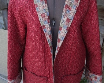 Vintage 70's Handmade Quilted Reversible Jacket