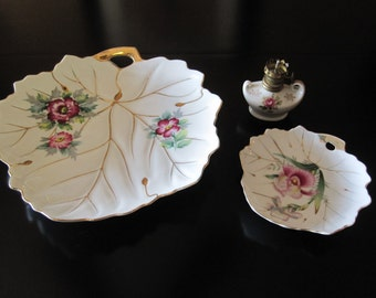Vintage set of Hand Painted Leaf dishes and a mini hurricane lamp