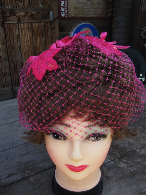 Vintage Fuschia Pink Net Hat With Flowers and Bows