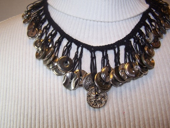 RESERVE FOR CRYSTOL Pretty Crocheted Necklace Black with Vintage Silver Color Buttons Free Shipping