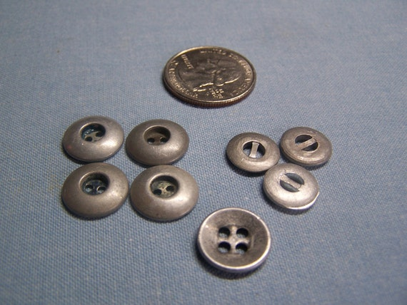 "Vintage Pewter Buttons 1/2"" Odd Lot 8, some sets (no. 500)"
