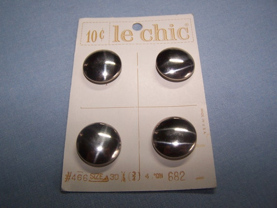 "Vintage Buttons Silver Metal 3/4"" Set of 4 (no. 504)"
