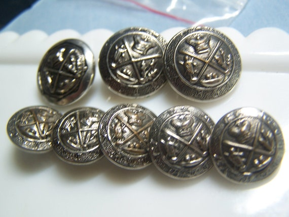 "Unusual 5/8"" & 3/4"" Vintage Silver Tone Sets British Uniform Buttons (no. 717)"
