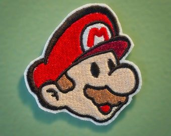 PAPER MARIO-- Embroidered Iron-on Mario NES Nintendo Throwback Patch