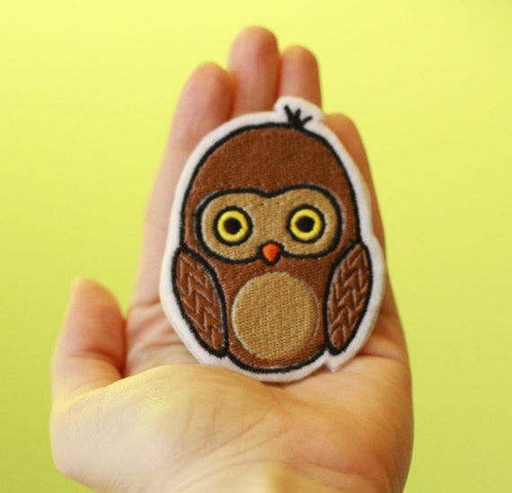 OKsmalls Original --HOOs There--Customizable Embroidered Iron-On Owl Patch