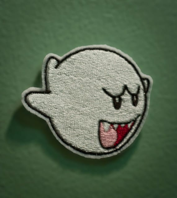 BOO - Embroidered Nintendo Ghost Patch from Mario Brothers