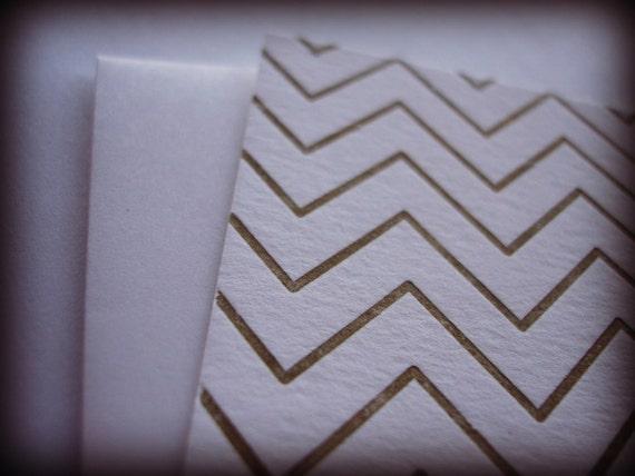 Letterpress Chevron Cards in Gold