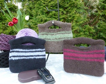 Felted Purse, Brown or Black Handknit Felted Mini Clutch