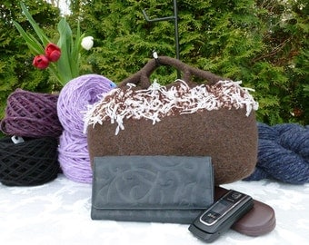 Felted Purse,  Brown Fancy Handle Hand knit Felted Purse