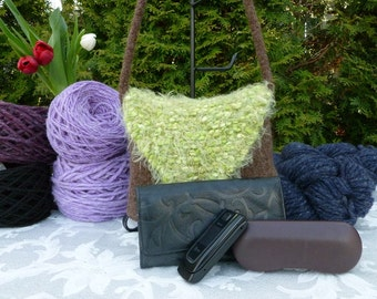 Felted Purse, Brown with Lime Green Flap Handknit Felted Shoulder Bag
