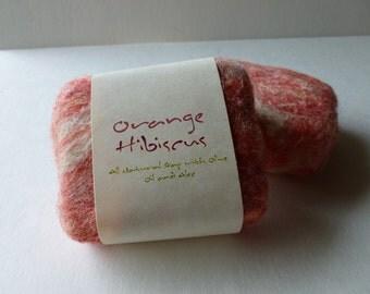 Felted Soap, Handmade Felted Soap - Orange Hibiscus