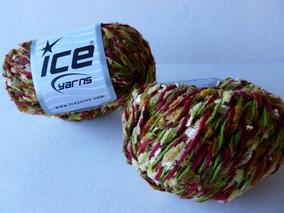 Wool Blendy Camel, Brown and Green and burgandy Yarn by ICE