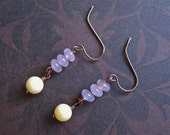 earrings with yellow coral and pink agate beads