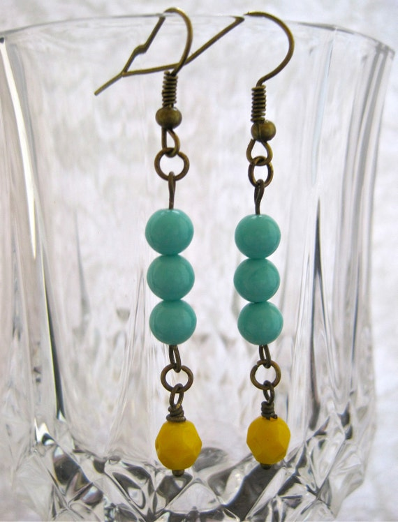 earrings with bright lemon yellow and mint green glass beads