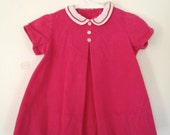 CLEARANCE SALE 50% - Vintage 50's Pink Corduroy Sweet Baby Dress - 9-24 Mo