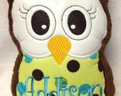 Personalized Monogrammed Plush Owl Pillow Soft Toy Reading Buddy