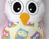 Light Pink Polka Dot Stuffed Owl, Soft Toy, Pillow, Reading Buddy