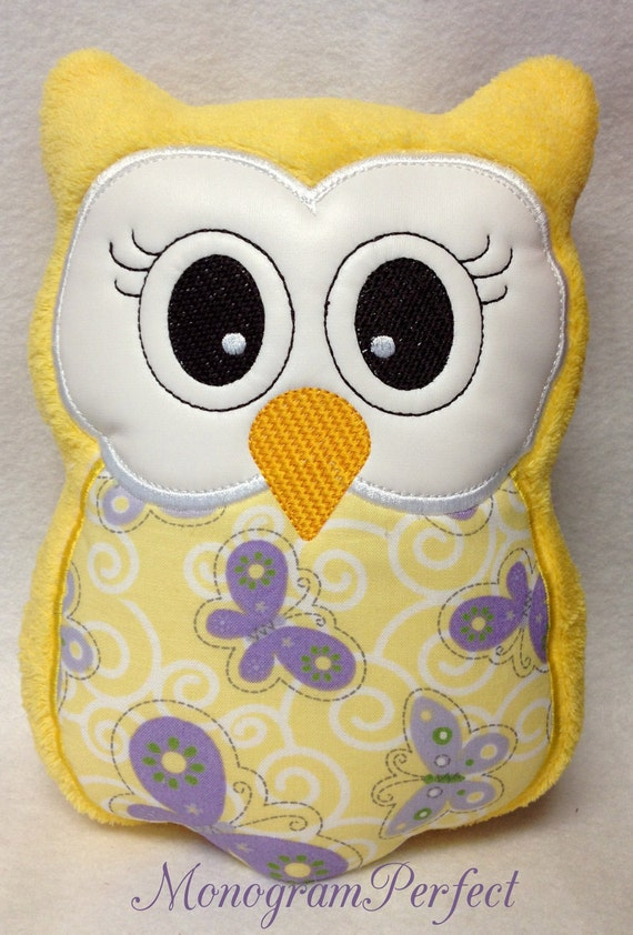 Yellow and Lavendar Stuffed Owl Animal Pillow by MonogramPerfect