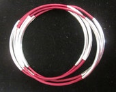 Gorgeous Berry Leather Bangles