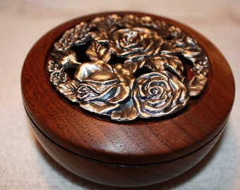 Black Walnut Potpourri Bowl with Pewter Rose Lid