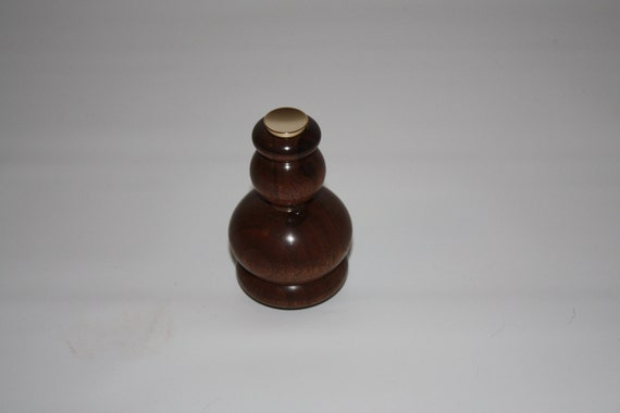 Black Walnut Perfume Atomizer with 24k Gold accents, sprayer and assembly parts.