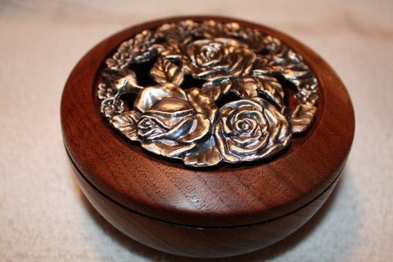 Black Walnut Potpourri Bowl with Pewter Rose Lid