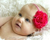 The Josie - Fuchsia Jersey Flower Headband/Broach/Pin - baby headband, photography prop, photo prop, adult, toddler
