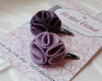 Dahlia Flower Felt Hair Clips - set of 2, purple, pastel, baby, infant, toddler, women, girl, felt flower hair clip, summer, barrette, bow