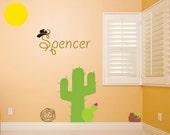 Personalized children's room cowboy desert scene vinyl wall decal art